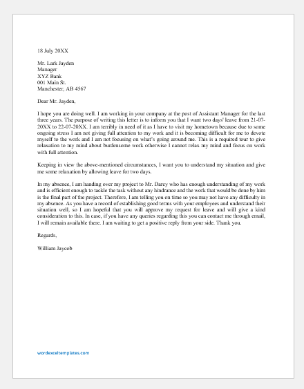 Two Days Leave Letter to Boss