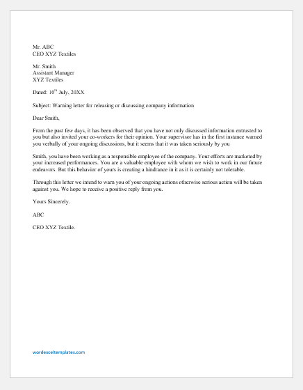 Warning Letter for not Keeping Company Information