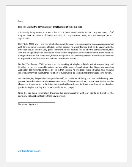 Affidavit in Support of Employment Termination