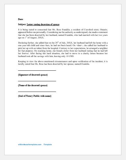 Affidavit of Desertion of Spouse
