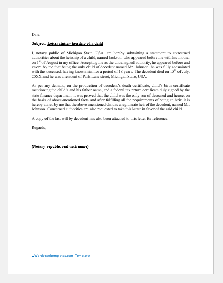 Affidavit of Heirship of a Child