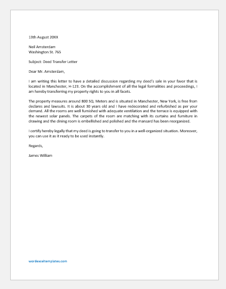 Deed Transfer Letter Template