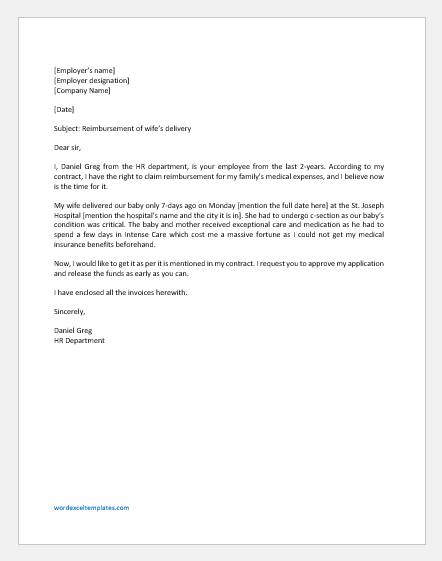 Sample Letter To Insurance Company For Medical Claim from www.wordexceltemplates.com