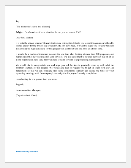 Project Confirmation Letter