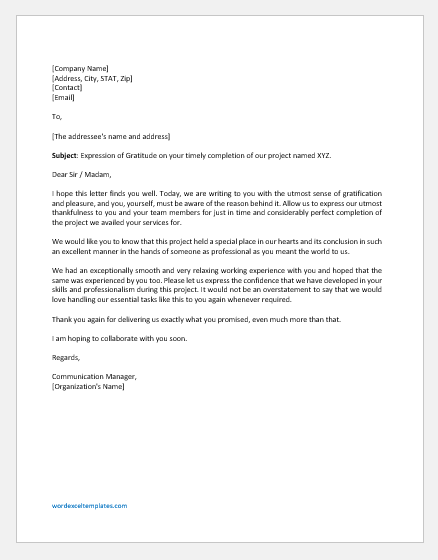 Thank You Letter for the Project