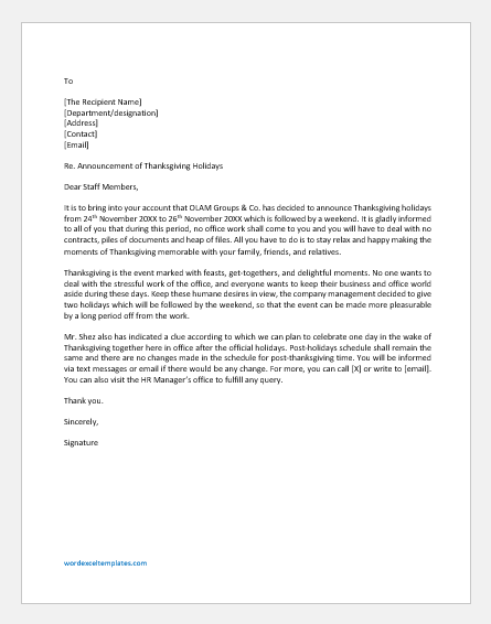 Thanksgiving Holiday Announcement Letter