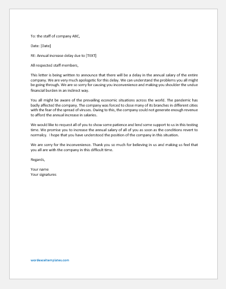 Annual Increase Delay Letter to Staff