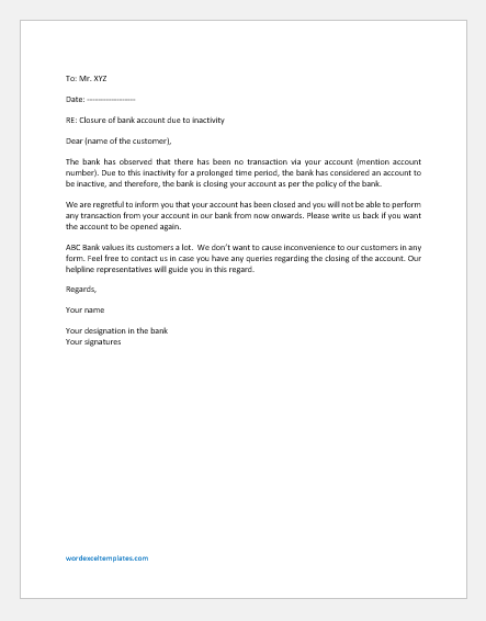 Letter Confirming Customer Bank Account Id Close due to Lack of Activity