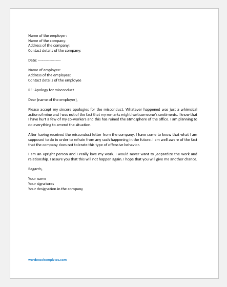Misconduct Response Letter to Boss