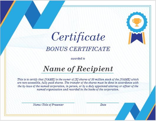 Bonus Certificate Template for Word