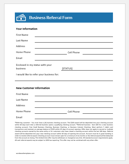 Business Referral Form Template for Word