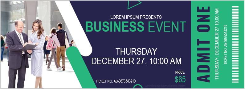 Business event ticket template
