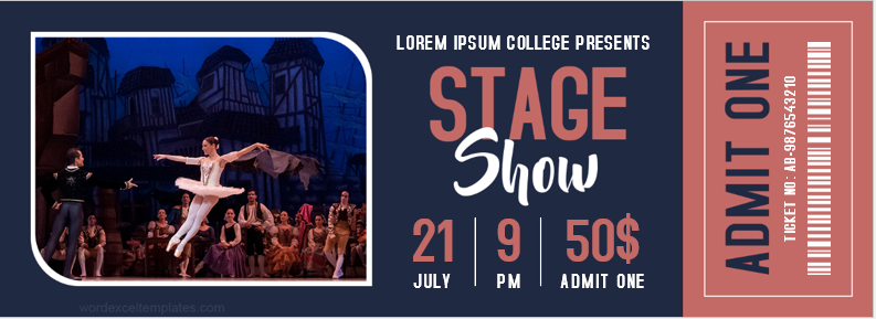 College Stage Show Ticket Template