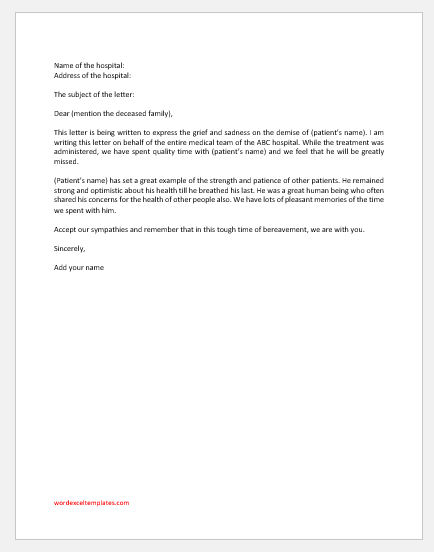 Condolence Letter from Hospital