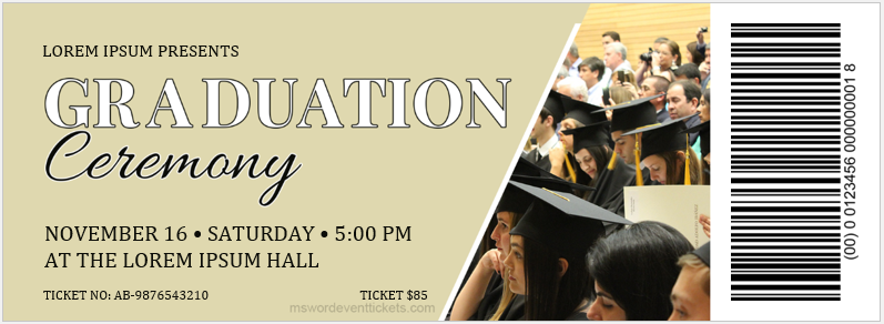 Graduation Ceremony Party Ticket Template