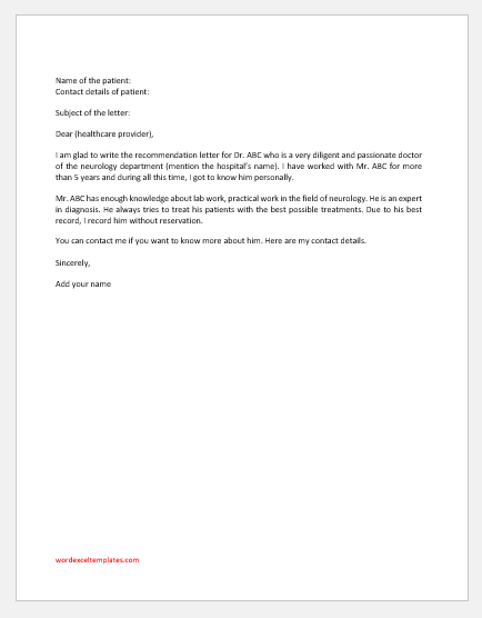 Hospital Recommendation Letter