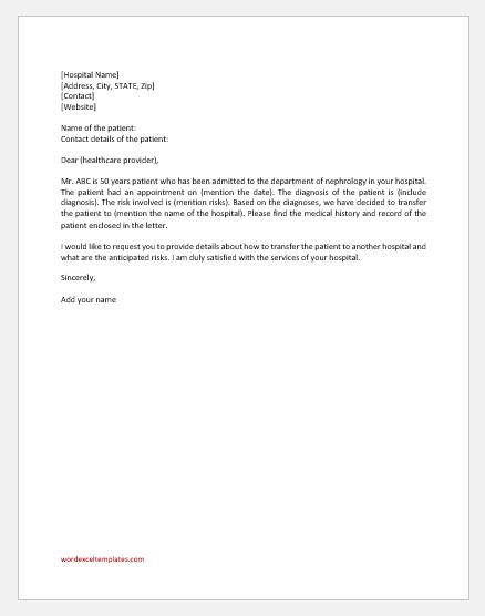 Hospital Transfer Letter Template