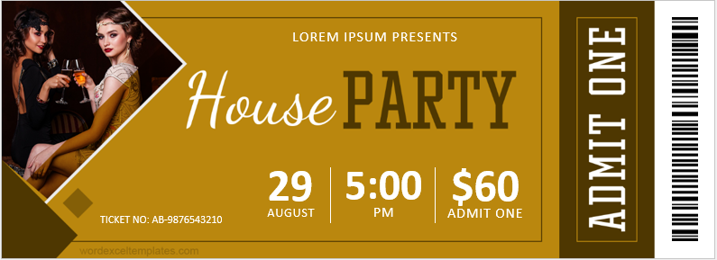 In-house party ticket template