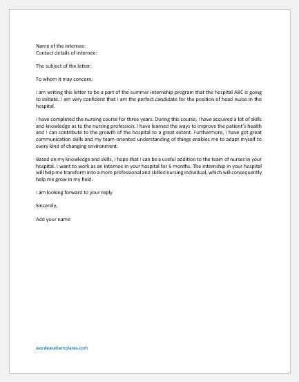 Internship Letter for Hospital