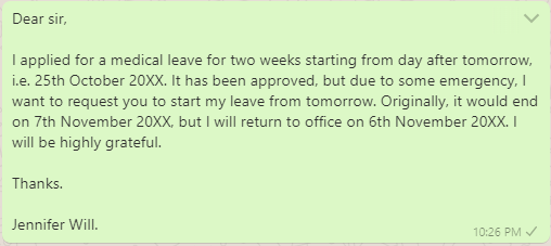 Medical leave message to boss
