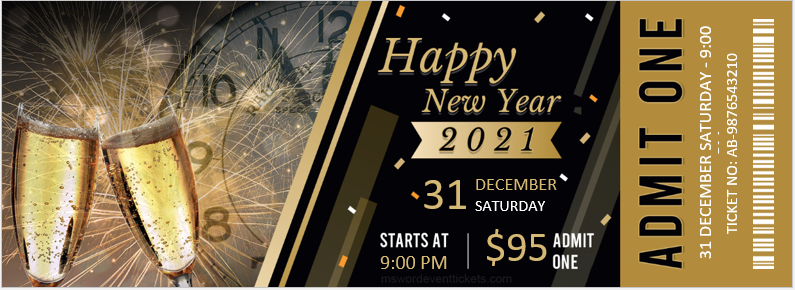 New Year Event Party Ticket Template