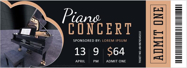 Piano concert ticket template