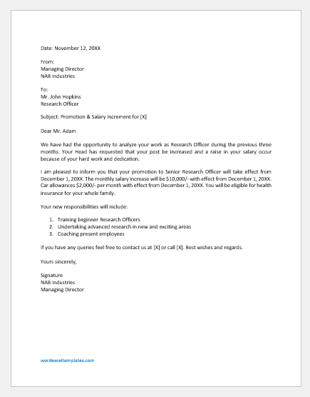 Promotion and Salary Increment Letter