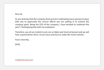 Thanksgiving Invitation Letter to employees