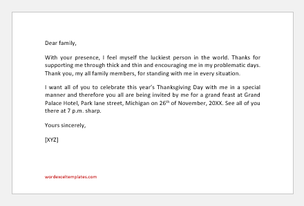 Thanksgiving Invitation Letter to family