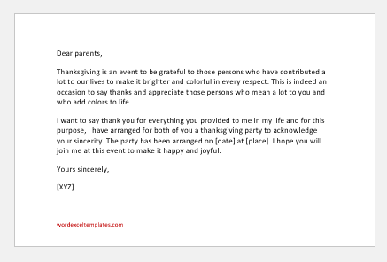 Thanksgiving Invitation Letter to parents