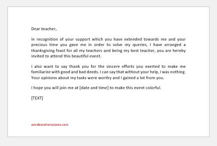 Thanksgiving Invitation Letter to teachers