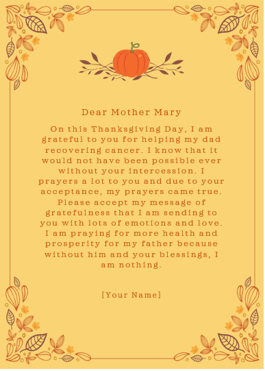 Thanksgiving Letter to Mother Mary