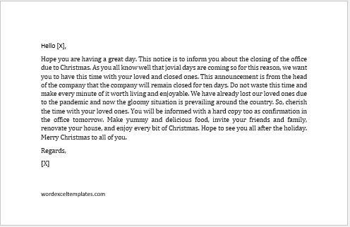 Christmas holidays notice to staff