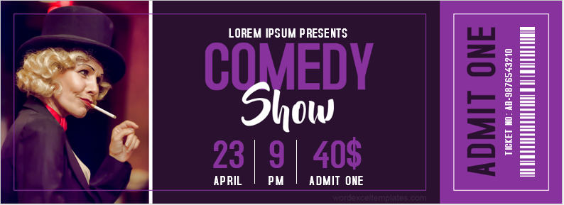 Comedy show ticket template