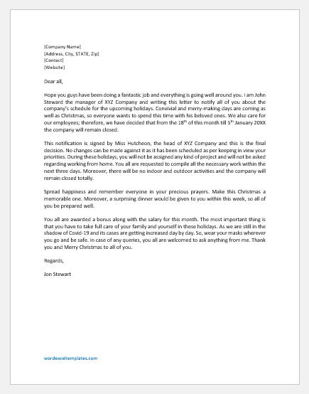 December Holidays Announcement Letter