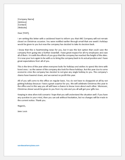 Letter to Staff for Not Closing on Festival
