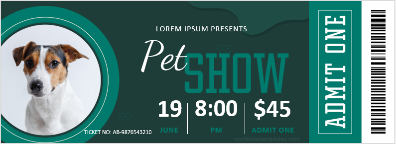 Pet Show Ticket Template