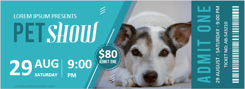 Pet Show Ticket Template