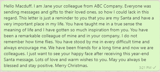 Santa Year-End Message to Colleague