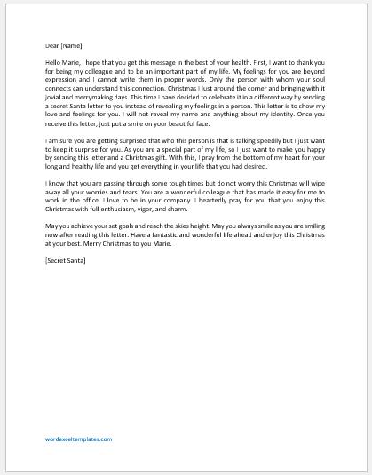 Secret Santa Letter to Colleague