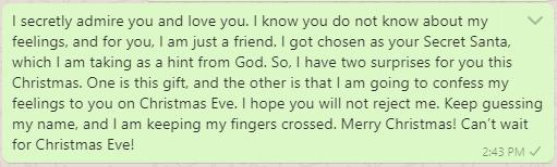 Secret Santa message to friend