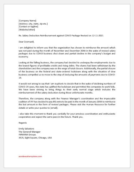 COVID-19 Salary Deduction Reimbursement Letter