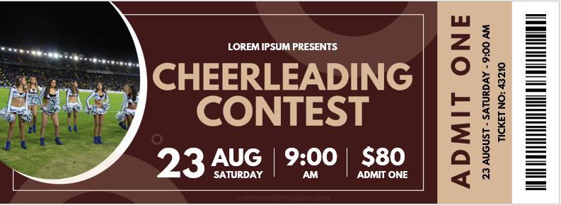 Cheerleading Contest Ticket Template