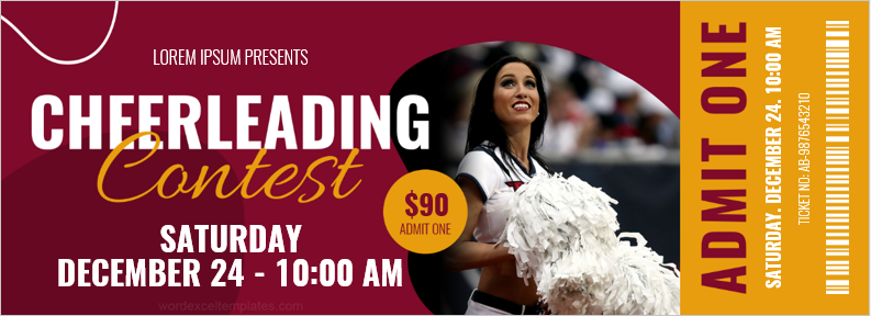 Cheerleading Contest Ticket Template