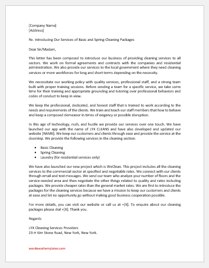 Cleaning Service Business Introduction Letter
