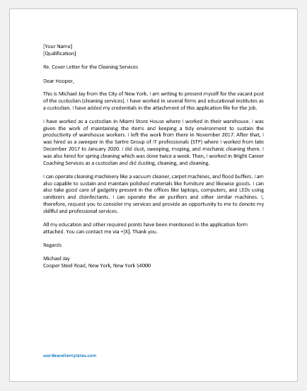 Cleaning Services Cover Letter Word Excel Templates