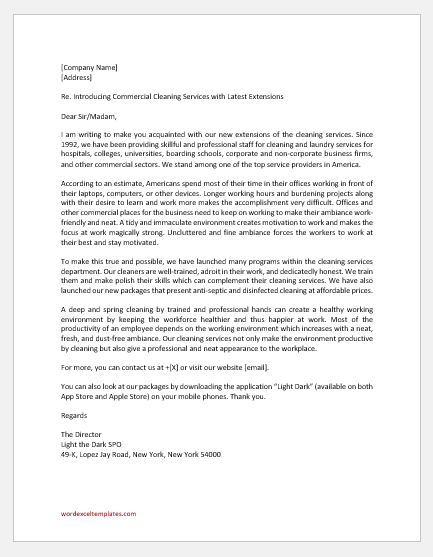 Commercial Cleaning Business Introduction Letter