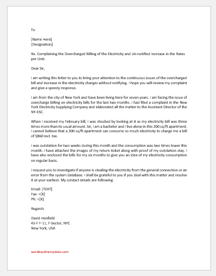 Complaint Letter for Overcharged Bill