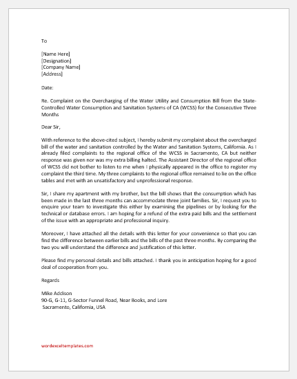 Complaint Letter for Overcharged Water Bill