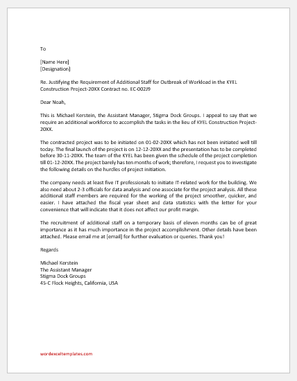 Justification Letter for Additional Staff